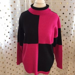 Vintage Pink and Black Bedford Fair Sweater